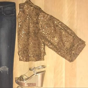 Gorgeous bronzed gold cropped sequin jacket